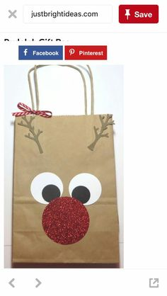 Rudolph the Red-Nosed Reindeer Gift Bag! So easy! Find a shopping bag in your stash and punch some circles! bag punch board Decorate a Rudolph the Red-Nosed Reindeer Gift Bag Christmas Gift Bags, Christmas Gift Wrapping, Christmas Crafts For Kids, Christmas Projects, Christmas Fun, Holiday Crafts, Christmas Decorations, Modern Christmas, Christmas Tables