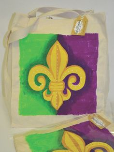 Mardi Gras Hand-Painted Tote Bag