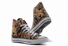 Overseas Edition Tan Converse Chuck Taylor Tiger Pattern Print Animal Brown High Tops Sneakers