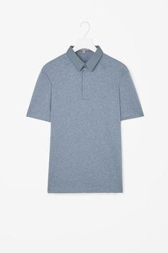 Poplin collar polo shirt