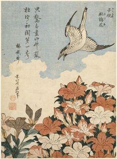 CuckooandAzaleas, 1834 by Katsushika Hokusai. Ukiyo-e. bird-and-flower painting. Guimet Museum, Paris, France