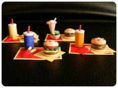 comida 3d, hamburguesas, comida basura, quilled food, Miniature Quilled Hamburgers