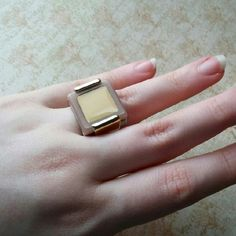 Jewelmint mixed metals colorblock statement ring! I love this but have never worn except to model here.  Great muted colors and shiny gold and silver tone band.  A true statement piece! Jewelmint Jewelry Rings