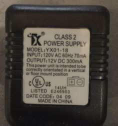 Genuine 12V DC 300mA ac adapter for IX YX01-18 class 2 power supply