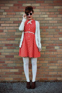 Discover this look wearing Red Polka Dot Forever 21 Dresses, Dark Brown Oxford Heels Charlotte Russe Shoes - Seeing spots by thejoyfulfox styled for Vintage, Everyday in the Spring 1940s Fashion, Vintage Fashion, Red And White Dress, Charlotte Russe Shoes, Dress With Cardigan, Feminine Style, Feminine Fashion, Chic Dress, Up Girl