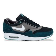 Nike Air Max 1 Black White Mid Turquoise Cool Grey ❤ liked on Polyvore featuring shoes, nike, sneakers, grey shoes, turquoise shoes, gray shoes and white black shoes