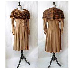 1930s Wool Princess Coat / Vintage 30s Fur Cape by VelvetWillows