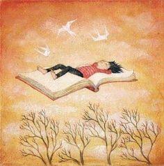 Muestra a un joven, volando en un libro... simplemente !literatura!