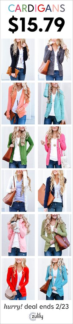 Sign up to shop cardigans for $15.79. Give a clap for the snap — snap cardigan that is! That's right, it's back. Stock up on your favorite colors for a layered look that keeps your closet trending. Deal ends 2/26.