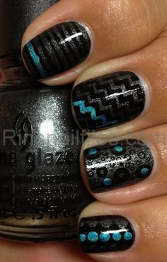 Black, Teal and Silver