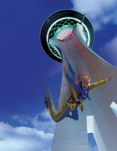 Free Fall From Las Vegas Stratosphere  So much fun!! I need to convince myca to do this! HAHA