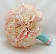 Bridal Bouquet Natural Touch Roses in Blush Pink with Groom's Boutonniere - Natural Touch Garden Roses in Pink with Tiffany Blue Ribbon - Bridesmaids flowers Blue And Blush Wedding, Rose Wedding, Floral Wedding, Wedding Flowers, Dream Wedding, Blush Pink, Blush Roses, Dusty Pink, Pink Roses