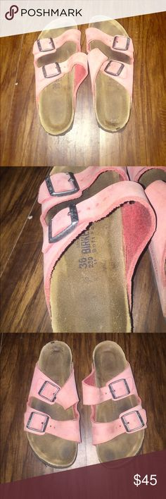 Leather Arizona Birkenstock Sandals size 36 Super cute pastel pink color. Soft footbed. Great pre-loved condition with normal wear as pictured 💕 Birkenstock Shoes Sandals