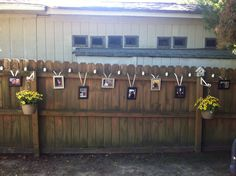 neat way to display pictures at engagement party