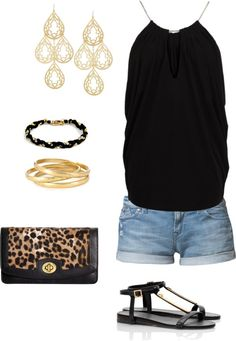 A fashion look from February 2013 featuring shirt top, jean shorts and black sandals. Browse and shop related looks. Short Outfits, Cool Outfits, Casual Outfits, Fashion Outfits, Dress Fashion, Bar Outfits, Fasion, Passion For Fashion, Love Fashion
