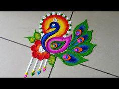 Simple Rangoli Border Designs, Easy Rangoli Designs Diwali, Rangoli Designs Latest, Rangoli Designs Flower, Free Hand Rangoli Design, Small Rangoli Design, Rangoli Ideas, Colorful Rangoli Designs, Unique Mehndi Designs