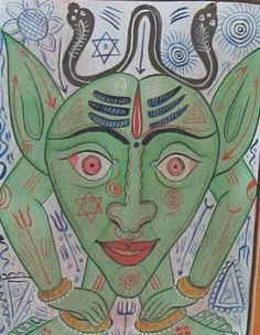 Buy online, view images and see past prices for Tantric Yantra Tribal India Folk painting in gallery frame. Invaluable is the world's largest marketplace for art, antiques, and collectibles. Tribal India, Ghost Cartoon, Beauty In Art, Mythological Creatures, Tantra, Religious Art, Indian Art, Mythology, Folk Art