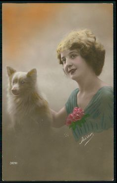 Edwardian Lady Spitz Pomeranian Dog original vintage old 1910s photo postcard