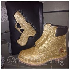 Champagne GOLD glitter timberlands from kingOFsole on Etsy. Shop more products from kingOFsole on Etsy on Wanelo. Timberland Outfits, Timberland Stiefel Outfit, Gold Boots, Yellow Boots, Leather Boots, Glitter Timberlands, Timberland Waterproof Boots, Bling Shoes, Fresh Shoes