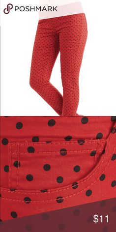 🎉 Modcloth Morning, Noon & Night Size 5 (fits a Medium) Red polka dot straight leg pants with black polka dots! Worn once (I just don't look good in bright pants)! From Modcloth and originally $50 ModCloth Pants Ankle & Cropped