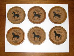 The Black Horse Tavern 1794 Wood & Cork Coasters / Set of 6 by CookieGrandma60 on Etsy, $18.50, Free US shipping.