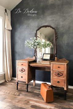 With sandpaper and a little elbow grease, you can turn your antiques pieces into beautiful raw wood furniture that you can use in your modern farmhouse.  #dododsondesigns #antiquevanity #rawwoodfurniture  #modernfarmhouse #furnituremakeover