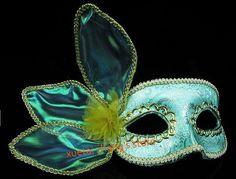 Light Green Fabric Handmade Eye Mask Mardi Gras Masquerade Halloween Costume Party MASKS