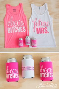 Future Mrs. and Cheers Bitches bachelorette party tank tops and koozies for the bride, maid of honor, and bridesmaids by Bachette. Women, Men and Kids Outfit Ideas on our website at 7ootd.com #ootd #7ootd
