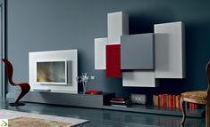 Mobile soggiorno moderno di design con pannello porta tv