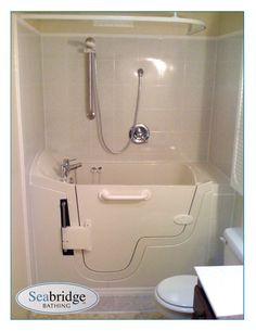 My dream . a very large, walk-in (slide in) tub! Universal access bath tub for the disabled Walk In Tub Shower, Walk In Tubs, Handicap Bathtub, Bathroom Renos, Bathrooms, Powered Wheelchair, Dream Furniture, Disability, Design Products