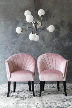 #2018DesignTrends, #2018InteriorDesignTrends, Vivid Velvet, Pink -- The Lovers Velvet Chair - Blush from Rockett St George