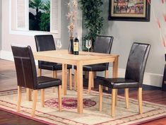 Ashdale Dining Table with Ash Veneer Top in Natural Ash Finish with 4 PU Black Chairs Small Dining Sets, Black Dining Set, Black Dining Chairs, Compact Dining Table, Glass Dining Table, Extendable Dining Table, Dining Tables, Oak Dining Room, Dining Room Sets
