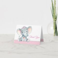Girl Elephant Baby Shower Thank You Cards Birthday Thank You Cards, Thank You Card Size, Baby Shower Thank You Cards, Custom Thank You Cards, Baby Cards, Custom Cards, Baby Girl Elephant, Elephant Baby Showers, Baby Boy Shower