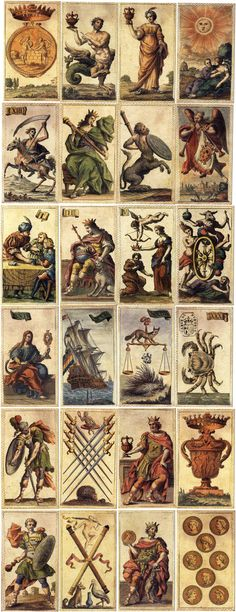 """Etruria"" Florentine Minchiate deck, 97 cards, facsimile edition published by Il Meneghello, Milan, Italy, 1986 & 1994. Another edition was published by Lo Scarabeo in 1996. A stamp with the text 'CARTE DI ETRURIA' appears on trump number XXX 'Cancer', hence the name ""Minchiate Etruria"" used for this facsimile edition."