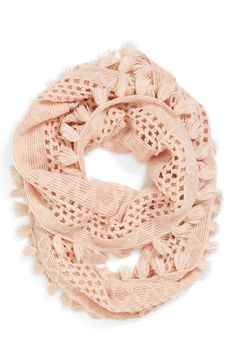 Pairing this rose pink infinity scarf with jeans and a tee.