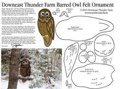 Barn Owl Pattern, Bird Stuffed Animal Pattern, How to Make a Toy Animal Plushie… Felt Owls, Felt Birds, Felt Animals, Felt Fox, Sewing Stuffed Animals, Stuffed Animal Patterns, Owl Crafts, Animal Crafts, Bird Patterns
