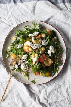Sweet Corn, Peach, and Cherry Salad With Creamy Goat Cheese and Lime Dressing | 31 Delicious Things To Cook In August