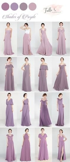 Shades of purple mismatched bridesmaid dresses for wedding 2019#wedding #weddinginspiration #bridesmaids #bridesmaiddresses #bridalparty #maidofhonor #weddingideas #weddingcolors #tulleandchantilly