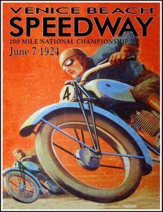 Venice Beach Motorcycle Racing Poster 1924