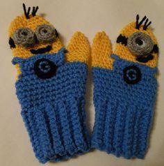 Minion Mittens Crochet Pattern by WistfullyWoolen on Etsy, £2.89