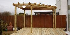 I love this corner pergola...exactly what I need for my patio