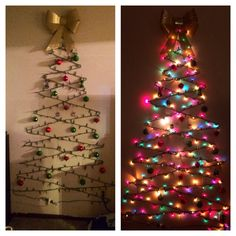 DIY Christmas tree. Cheap, easy and space friendly way to decorate for the holidays.