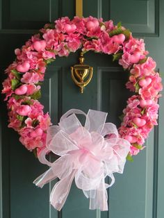Mothers Day Heart Wreath Pink Wreath Spring by WaukeeCreations