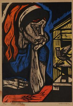Irving Amen – woodcuts Nice use of primary colors in this reduction print.