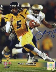 PAT WHITE WEST VIRGINIA SIGNED 11x14 PHOTO THE RUN by The Sports Mix. $49.00. PAT WHITE HAND SIGNED WEST VIRGINIA MOUNTAINEERS 11x14PAT WHITE HAND SIGNED WEST VIRGINIA MOUNTAINEERS HAND SIGNED 8X10 PHOTO.THE PHOTO AND AUTOGRAPH ARE IN MINT CONDITION. PAT WHITE IS NOW A WEST VIRGINIA LEGEND. PAT WHITE HAS WON MORE GAMES THAN ANY OTHER QB IN WEST VIRGINIA HISTORY. HE IS THE ONLY COLLEGE QB TO EVER WIN ALL 4 COLLEGE BOWL GAMES.THIS PHOTO IS FROM PAT'S FIRST MEMORABILIA SIG...