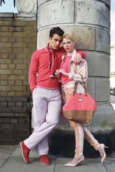"""Matteo wears Fideli Pink Fine Cashmere Sweater, Banana Republic Lightweight Cotton Fine Stripe Trousers and Pink Speckled T-shirt, Clarks Originals Coral Pink Suede Dessert Boots, Vintage Jacqmar Scarf from ebay.co.uk. Abi wears Tommy Hilfiger Cameo Rose """"Blair"""" Parka and Denim """"Ally"""" Jegging, L.K.Bennett Coral Florette Heels and Coral Cardigan, Ugg Gracie Sheepskin Tote Bag, Bershka Triangle Cut Leather Pink Belt. Photography and styling by Gregg Stone: www.greggstone.com"""