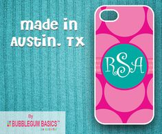Items similar to Custom Phone Case iPhone 6 Samsung Galaxy - Big Pink Polka Dots Teal Circle Band - Monogrammed Personalized on Etsy Iphone Phone Cases, Mobile Phone Cases, Iphone 4, Personalized Phone Cases, Pink Polka Dots, Samsung Galaxy S4, Gifts For Friends, Teal, Monogram