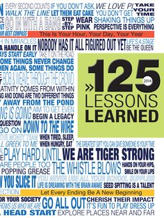 "4-color lithocote yearbook cover with Softouch laminate and UV varnish, embossing/debossing. Texas High School / ""125 Lessons Learned"""