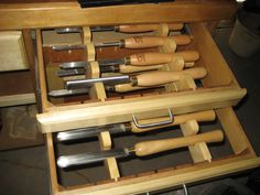 Tool drawer for lathe tools, no bottom on the drawers #woodturning #toolstorage