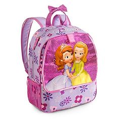 Disney Store Princess Sofia the First Backpack Book Bag Purple. Sofia and Amber screen art on clear outer layer, with glittering pink background layer. Allover floral print with glittering accents. Zip main compartment with two zip pulls. Exterior compartment with flap and self-stick fabric fastener. 15'' H x 12'' W x 5'' D.